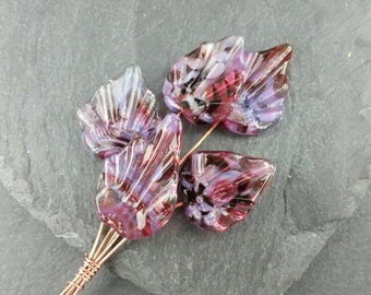 Set of 5 pink/lilac deco leaf headpins. Handmade lampwork glass.