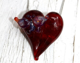 Butterfly Heart Necklace Glass Jewelry, Flamework Pendant Lampwork Boro, Hand blown Red Heart