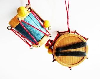 Set of 2 p. German Vintage Wooden Steinbach Drum Ornaments Made in Germany Erzgebirge Hohenhameln