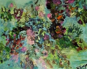 Impressionism, Cottage Chic Art, Home Decor Floral, Mixed Media, Original Art by Kathleen, FromGlenGoGlen