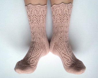 Hand knit wool socks with CASHMERE. Cashmere socks. Pale pink. Old rose wool lace socks. Gift for her. Lingerie socks. Bed socks.