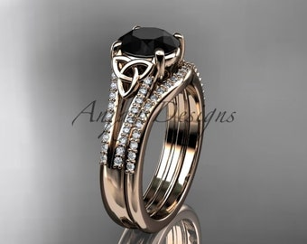 14k rose gold celtic trinity knot engagement ring ,diamond wedding ring, engagment set with a Black Diamond center stone CT7108S