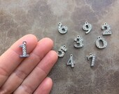 1 pc You Choose  15mm Numbers 0 - 9 Rhinestone NUMBER Charms / Silver