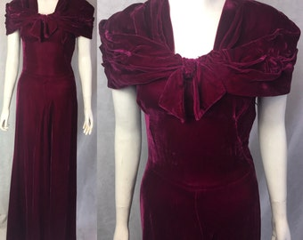 1930s cranberry velvet evening gown S