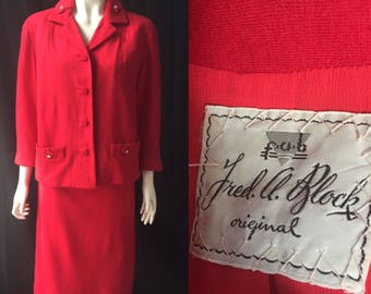 Lipstick red 1950s suit Fred A Block