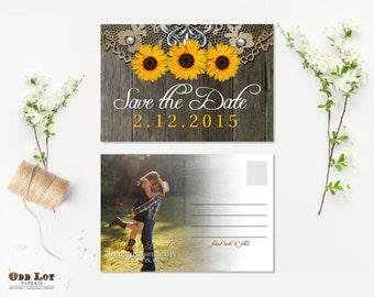Sunflower Save the Date, Rustic Save the Date, Photo Save the Dates, Printable Summer Save the Date Sunflower Postcard, Save the Date Card