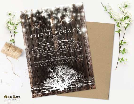 Rustic Tree Bridal Shower Invitation