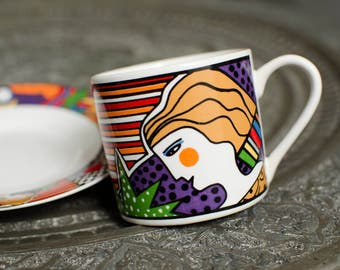 Vintage Vitromaster Metropolitan Demitasse Art Deco Cup and Saucer Pop Art - Indonesia