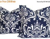 Blue Pillows.Damask.SET OF TWO.20x20 inch.Decorative Pillow Cover.Housewares.Home Decor.Navy Blue.Dark Blue Pillow Set.Floral Blue Pillows