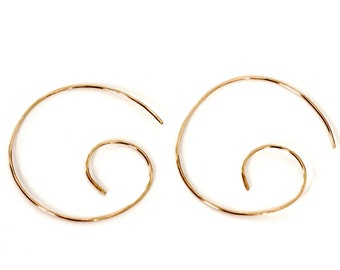 gold spiral hoop threader earrings | 14k gold filled sterling silver hoops | gold wave earrings | swirl earrings | gold earrings | girlthree