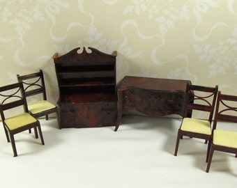 Vintage Renwal Dining Room Dollhouse Furniture Pieces 4 Chairs Buffet Hutch