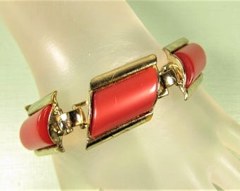 Red Thermoset Bracelet - Vintage Gold Tone Rectangle