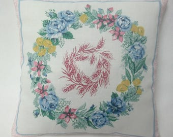Floral Wreath Mini Pillow