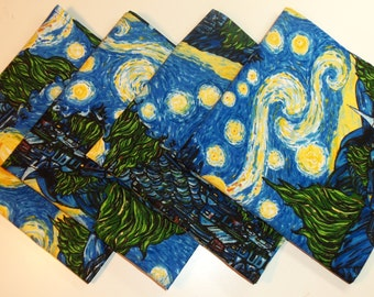 Cotton Cloth Napkins - Set of 4 Starry Night Pattern