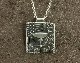 Fine Silver Primitive Bird Pendant with Sterling Silver Chain, Aged Silver, Sterling Silver Necklace, Southwestern Necklace, PMC Necklace