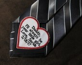 Father of the Bride - Heart Shaped Wedding Tie Patch - Personalized Embroidery - Shown with Black Writing and Red Heart