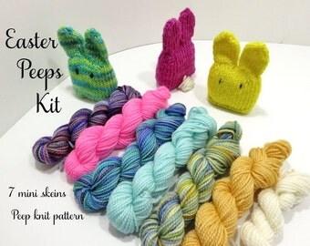 Easter Bunny Peep Knit Kit - 6 sock yarn mini skeins and Easter Egg pattern