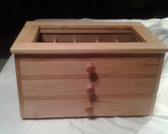 Cherry jewelry box with velvet lined drawers