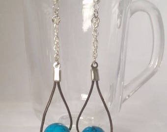 ON SALE Blue x Leather Earrings with Sterling Silver, Bright Blue, Simple Dangle Earrings, Modern Jewelry, Gifts for Women