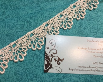 Ivory Venise, 1 yard of 1 1/4 inch Ivory Venise Lace trim for wedding, bridal, scrapbooking, jewelry, couture by MarlenesAttic - Item 7VV