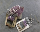 Amethyst Slice Geode Dangle Earrings, Oxidized Sterling Silver, Raw Gem Amethyst, Natural Mineral