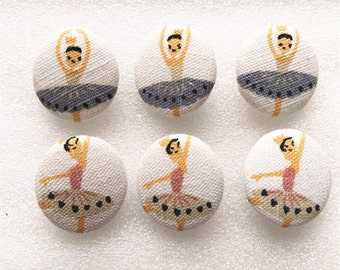 Set of 6 Fabric Button Covered Button Ballet Button Sewing Button By Handmade 22mm