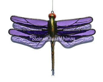 Stained Glass DRAGONFLY Suncatcher, Purple Wings, Handcast Metal Body, USA Handmade, Purple Dragonfly, Violet Dragonfly, Purple Firefly