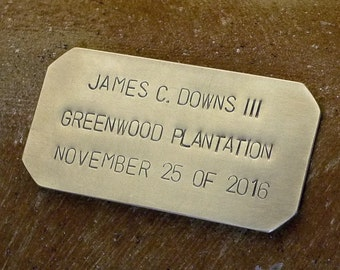 Personalized Nameplate, Hand-Stamped Brass Plate, ID Tag, Door Plate, Memorial Keepsake, Vintage Inspired Solid Brass Custom Made 3 x 1.5""