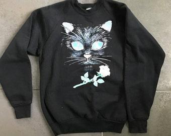 Vintage Black Cat Sweatshirt, Size L