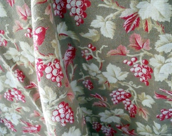 Antique French fabric  printed cotton 19th-century birds grappes textiles