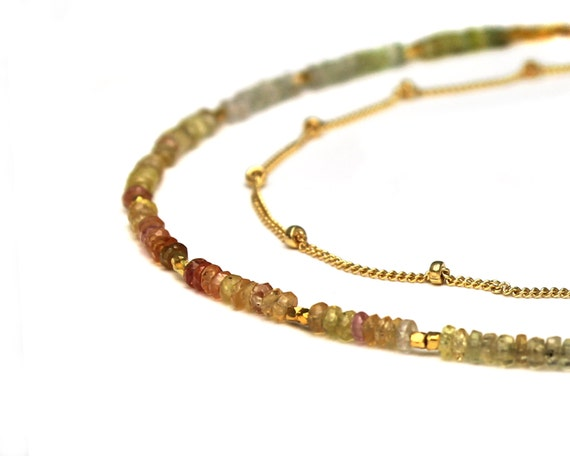 Multi Sapphire Ombre Beaded Necklace. Double Chain.  Multi Chain Jewelry. Sterling Silver or Gold Fill. NS-2203