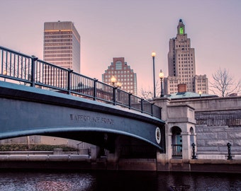 Providence Rhode Island Skyline with Bridge Cityscape Photograph Print