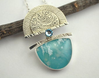 Blue Agate Pendant - Silver Pendant - Metalsmith Pendant - Petite Pendant