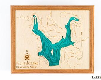 Pinnacle Lake in Warren County, Missouri.  16x20 3D Wall Art