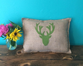 "12"" x 16"" Burlap Fringe Pillow w/ Deer Head Applique-Elk Head-Wildlife Collection-Choose Your Colors-Rustic/Country/Folk/Natural-Cabin Decor"