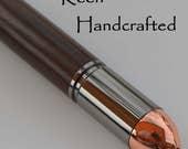 fl - Keen Handcrafted Handmade Ironwood Revolver Gun Metal Click Pen