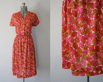 1950's Novelty Print Leaf Dress / Size Medium