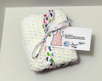 Dish Cloths Handmade 100% USA Cotton Set of 3 - Pansies