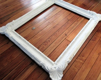 """Large White Ornate Picture Frame~Baroque Frame~Vintage Wall Frame 36"""" x 30""""~White Shabby Chic Cottage~Wedding Menu Seating Chart"""