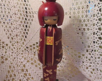 Vintage Tall Kokeshi Doll in Red