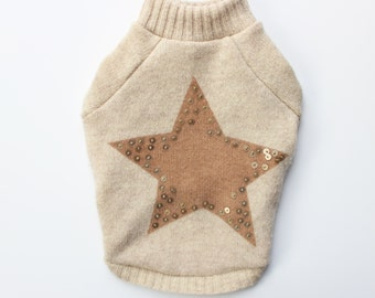 Upcycled Star Dog Sweater, XS