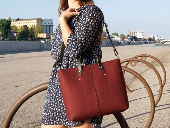 40% OFF - Wool felt HANDBAG / felt shopper / felt women's bag / burgundy bag / maroon bag / made in Italy
