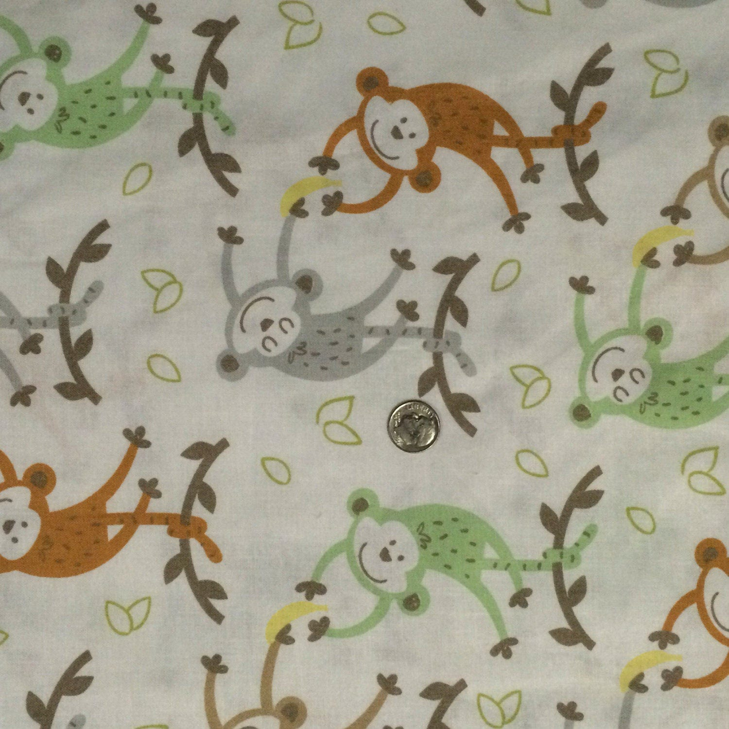 Cotton fabric banana monkeys fabric monkey nursery for Nursery monkey fabric