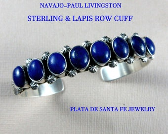 "Navajo~PAUL LIVINGSTON~Delicate~Lapis/925~Traditional Row Cuff~3/8"" Wide"