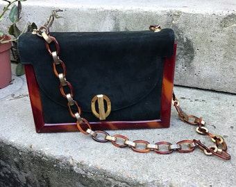 Beautiful black suede and lucite purse