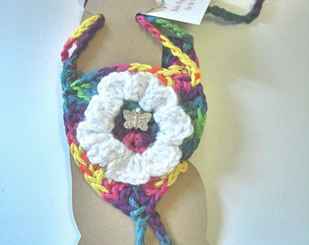 Bright Butterfly Flower Barefoot Sandals in Crochet by VLA Designs - Cotton Jewelry, Foot Thong, Bohemian Hippy Footwear
