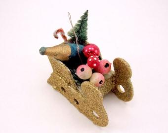 1930s Sleigh Christmas Ornament Spun Cotton Champagne Bottle Fruit Mushroom Glittered Cardboard Christmas Decoration German