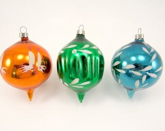 Blown Glass Christmas Ornaments Vintage American Fancy Shape Christmas Decorations Mid-Century