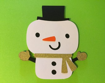 4 Snowman die cuts, 4 paper die cuts, Paper snowman, custom snowman die cuts, snowman gift tags
