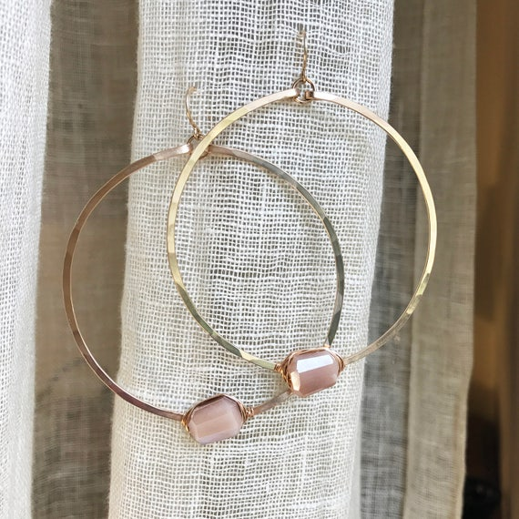 Orbit Hoop Earrings with mocha moonstone